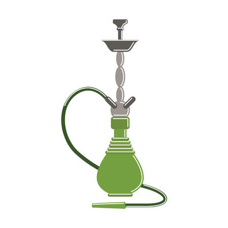 eastern culture: Isolated hookah on white background. Red arabic smoking pipe. Eastern culture. Illustration