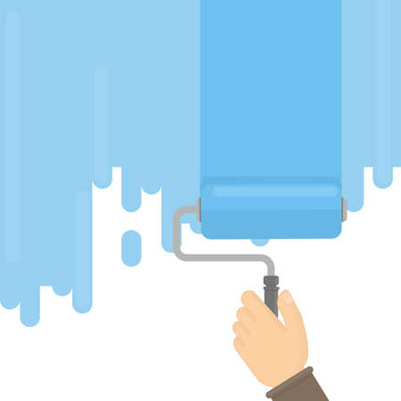 paintroller: Wall painting with brush as paint-roller. Concept of repair and renovation. Illustration