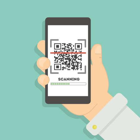 Escaneo de código QR con teléfono inteligente. Aplicación de escaneo móvil para leer información en línea sobre el lugar o el producto. Foto de archivo - 70266172