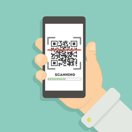 Scanning qr code with smartphone. Mobile scan app for reading information online about place or product. Reklamní fotografie - 70266172