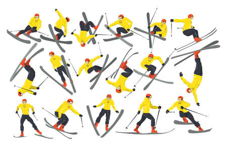 Extreme male skiers set on white background. Winter sport. Professional athlete.