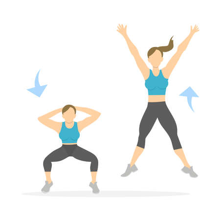 Squats exercise for legs on white background. Healthy lifestyle. Workout for legs. Exercises for women. Jumping squats. Illustration