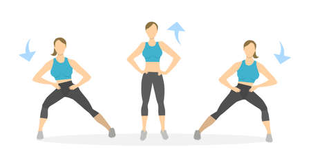 Lunges exercise for legs on white background. Healthy lifestyle. Workout for legs. Exercises for women. SIde lunges. Illusztráció