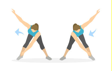 Arms exercise for women on white background. Workout for arms and hands. Side turns.  イラスト・ベクター素材