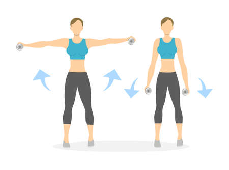 Arms exercise for women on white background. Workout for arms and shoulders with dumbbels. Hands rising.
