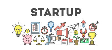 Startup banner illustration with icons. Business strategy and many icons as rocket, magnifyer, loudspeaker and more. White background.