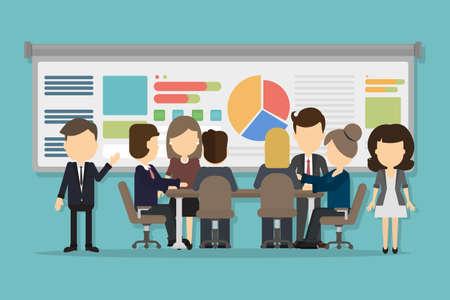 Business-Konferenz mit Menschen kommunizieren und diskutieren. Großes interaktives Board mit Videoberatung und Analytik. Vektorgrafik