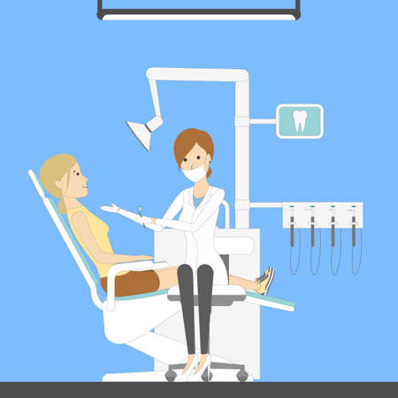 Dental care cabinet with dentist and patient. Healthcare and hygiene. Female doctor.