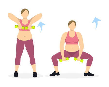 young woman legs up: Squats exercise with dumbbels for legs on white background. Healthy lifestyle. Workout for legs. Exercises for fat women.