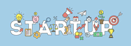 Startup banner illustration with icons. Business strategy and many icons as rocket, magnifyer, loudspeaker and more. Illustration
