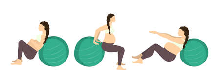 Workout for pregnant set. Exercises with fit ball. Yoga training. Healthcare for young mothers. Abs workout.