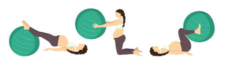 squat: Workout for pregnant set. Exercises with fit ball. Yoga training. Healthcare for young mothers. Leg workout. Illustration