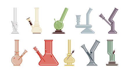 bong: Isolated bongs set on white background. Bongs and waterpipes. Colorful smoking equipment made of glass.
