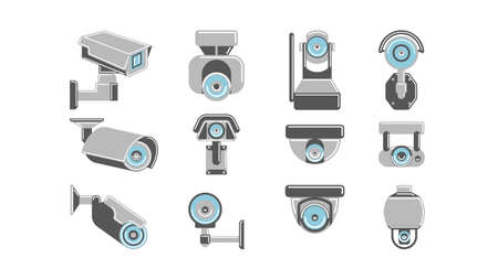 monitored: CCTV cameras set on white background. Concept of safety, guardiance, security and observing. Illustration