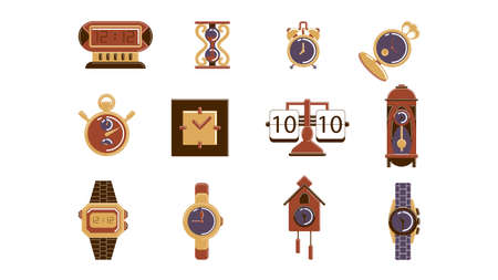 Isolated clock set on white background. Retro clock watch, wrist watch, stopwatch and sand watch.