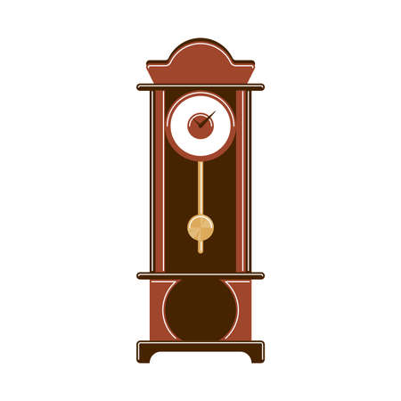 Isolated grandfather clock on white background. Classic retro decoration for luxury interior.