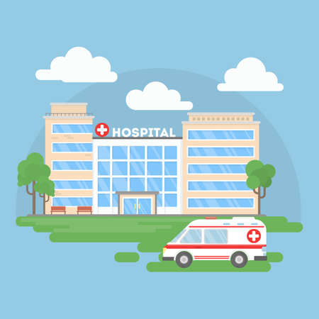 first house: Hospital building with ambulance. Urban background. Modern medical center with first aid.