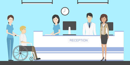 Reception in hospital with patients. Waiting room with disabled man. Healthcare. Illustration