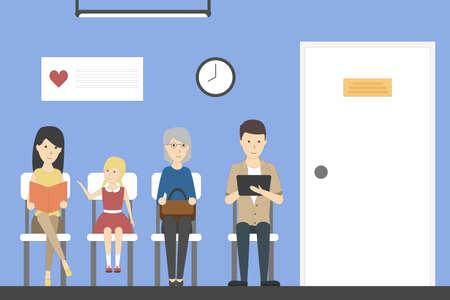 Wachtkamer in het ziekenhuis met patiënten. Kamer met stoelen en gezondheidszorg poster.