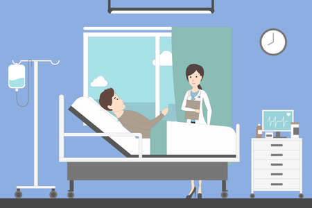 Ward in hospital with doctor or nurse and patient. Clean and bright ward. Man with desease.