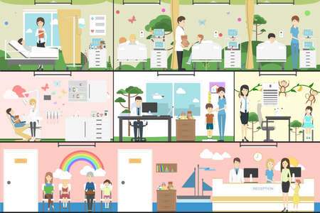 Children in hospital set. Pediatrician, reception, waiting room and ward. Kids with illness. Illustration