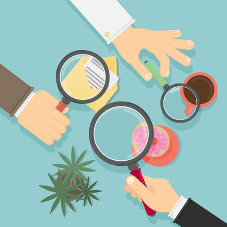 Hands with magnifying glass. Concept of searching, detecting and analyzing. Desk top view. Illustration