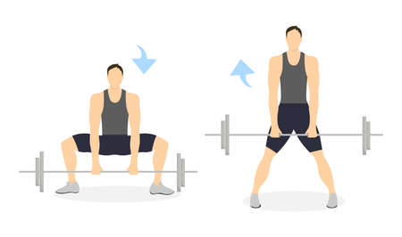 Legs exercise for men on white background. Healthy lifestyle. Crossfit and fitness. Squats with barbell. Illustration