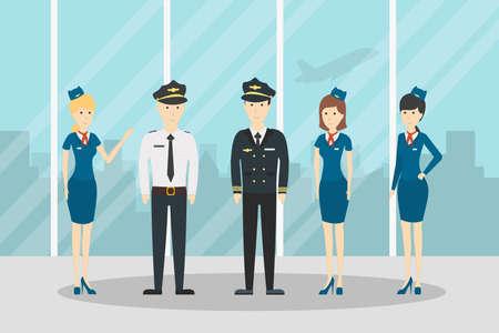 Airplane flight crew. Pilot, capitan and flying attendants. Professional team in uniform. Illustration
