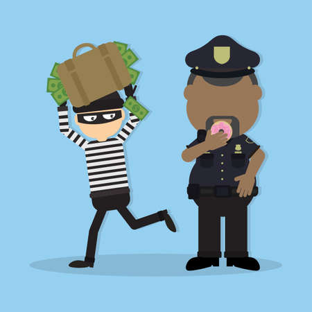 Thief and police officer. Funny cartoon thief in black mask stealing a bag. Fat police officer with donut. Illustration