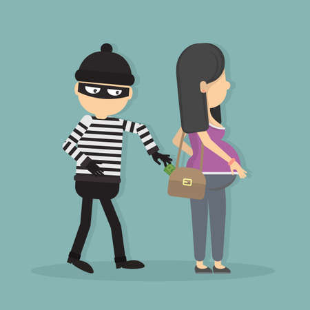 robbery: Pickpocket steals money from pregnant girl. Concept of danger and attention. Robbery and theft. Illustration