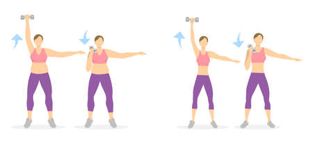 Arms exercise for women on white background. Workout for arms and hands with dumbbels. From fat to skinny. Illustration