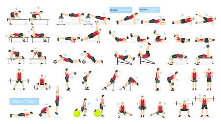 Estableció hombre entrenamiento. Hombre gordo haciendo ejercicios de fitness y yoga. Estocadas y sentadillas, plancha y ABC. entrenamiento de cuerpo completo. Foto de archivo - 70027547