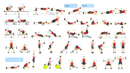 Workout man set. Fat man doing fitness and yoga exercises. Lunges and squats, plank and abc. Full body workout.