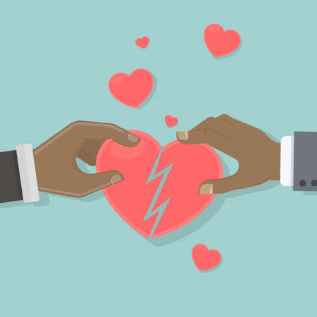 Heart recovery concept. Two african american hands hold and connect pieces of heart. Illustration