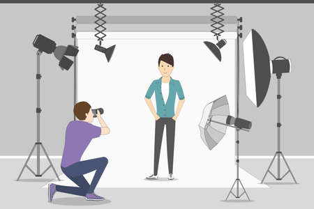 Male model in photo studio. White background with lights and cameras. Photographer making photos. Fashion clothes. Illustration