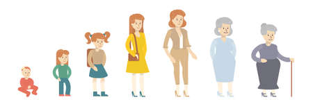 Female age evolution on white background. From kid to grandmother. All stages of maturity. Illustration
