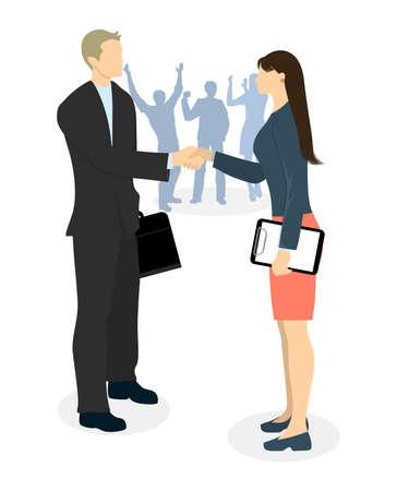 Zakelijke overeenkomst handdruk. Man en vrouw schudden handen akkoord. Het inhuren van een nieuwe baan.