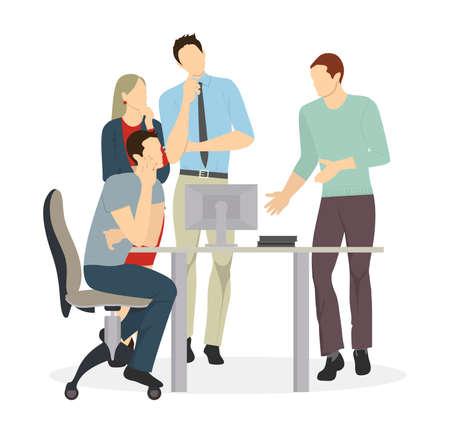 Réunion d'affaires isolée. Les gens discutent des problèmes et des idées. Brainstorming. Vecteurs