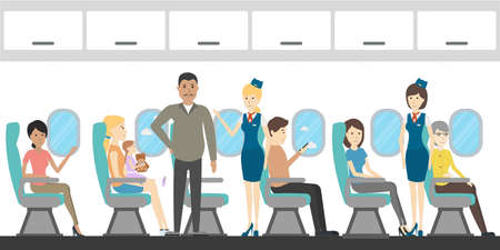 cabin attendant: Airplane economy class interior. Flying attendants and passengers. Illustration