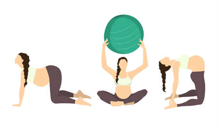 Workout for pregnant set. Yoga training. Healthcare for young mothers. Stretching for health. Exercise with fit ball.