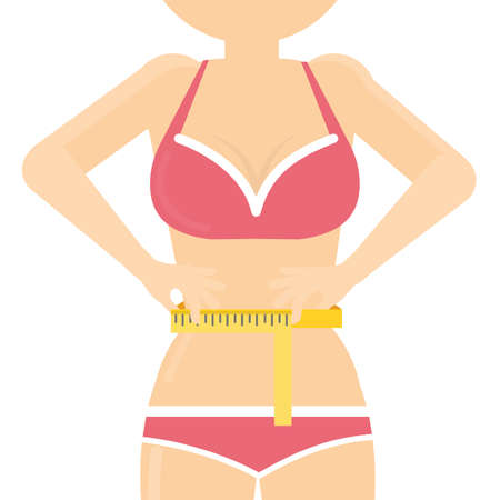 Female body with measuring tape. Concept of being fit and slim, following diet and fashion.