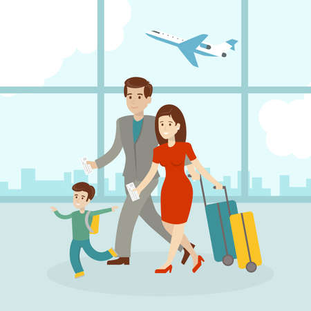 Family in airport with luggage and suitcase. Father, mother and son. Family on vacation.