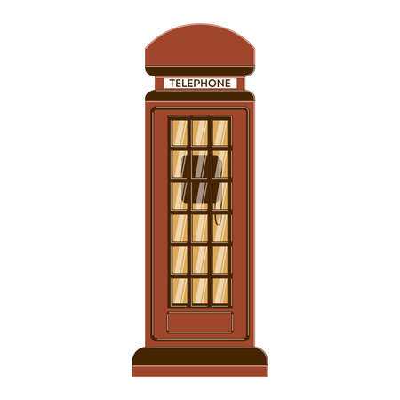 phonebox: Isolated phone box on white background. Classic vinatge outdoors phone box. Illustration