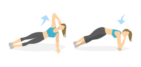 Body exercise for women on white background. Crossfit and fitness. Plank with elbow down.