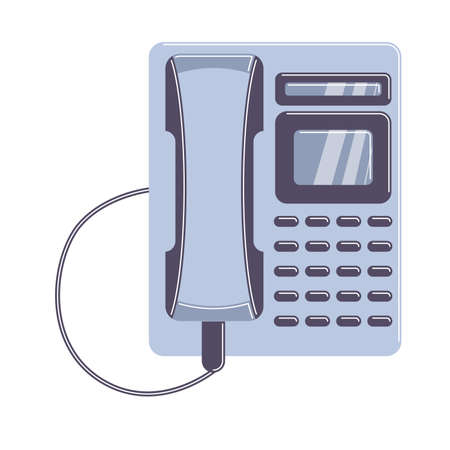 cordless phone: Isolated home phone on white background. Old-fashioned technology.