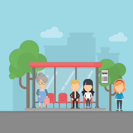 Bus stop with passengers. Urban background. People wait transportation at the station. Ilustracje wektorowe