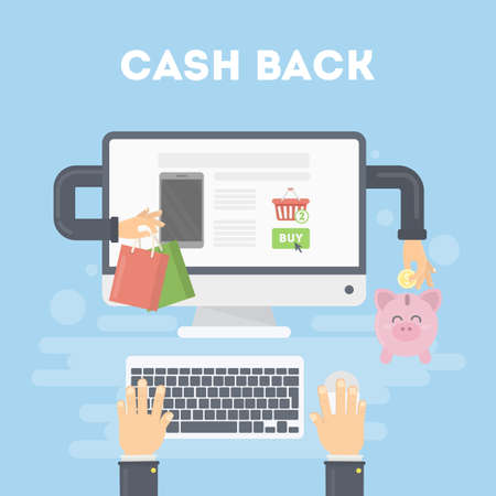 cash back: Cash back concept. Shopping and getting money back. E-commerce and economy.
