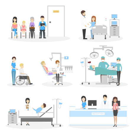medical exam: Isolated hospital set on white background. Waiting room, ward, reception and dentistry. Doctors and nurse. Illustration