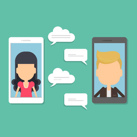 Smartphone chatting concept. Illustration of people on the screen sending messages. Bubble speech text. Romantic conversation.