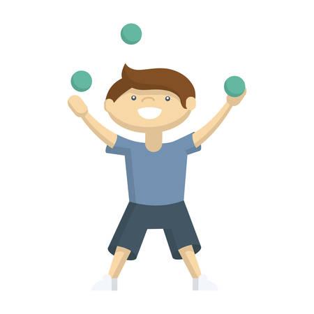 Niño gracioso jugando en el patio con bolas. Personajes de dibujos animados sobre fondo blanco.